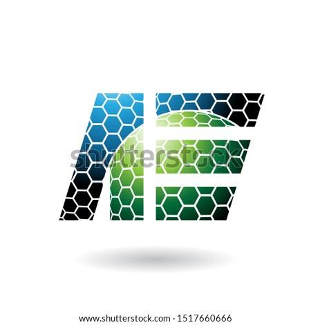Blauw groene brieven honingraat patroon geïsoleerd Stockfoto © cidepix