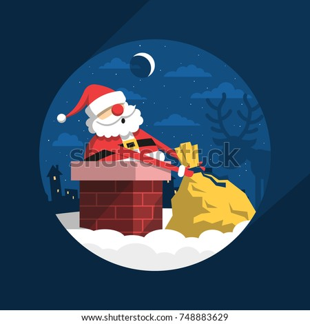 cheerful santa claus on a roof climbing into the chimney with a stock photo © ivandubovik