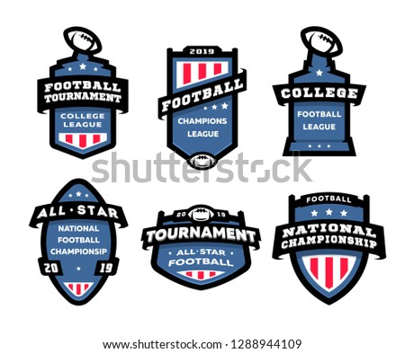 American football logo emblems set. USA sports badges collection in flat colorful style. Cute logoty Stock photo © JeksonGraphics