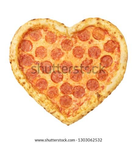 delicioso · pizza · forma · coração · isolado · branco - foto stock © Lady-Luck