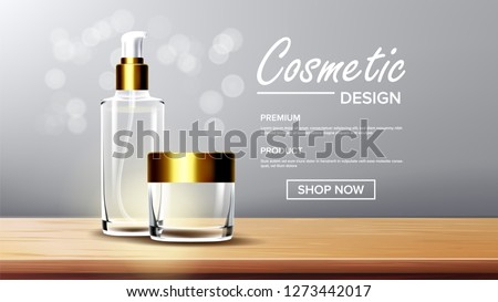 Cosmetic Glass Banner Vector. Bottle. Premium Jar. Perfume, Essence. 3D Isolated Transparent Realist Stock photo © pikepicture