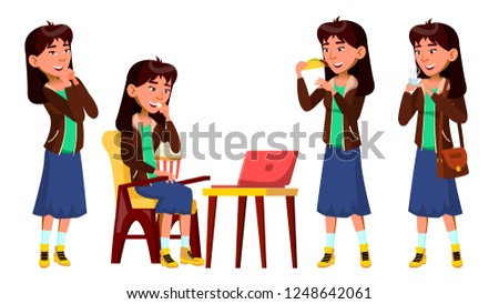 Asya genç kız ayarlamak vektör izlerken film Stok fotoğraf © pikepicture