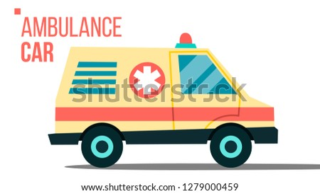 Ambulance Car Vector. Emergency Truck. Hurry Medic Clinic Transportation With Siren Isolated Flat Ca Stock photo © pikepicture