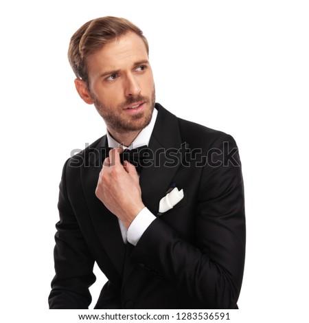 Retrato curioso empresario mirando lado Foto stock © feedough