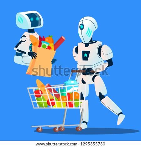 Eladó robot nagy bevásárlótáskák áru kéz Stock fotó © pikepicture
