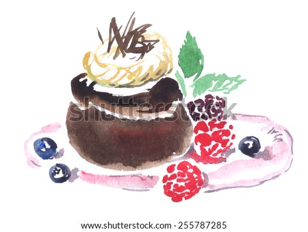 Chocolate fondant with raspberries and mint watercolor illustration. Stock photo © bonnie_cocos