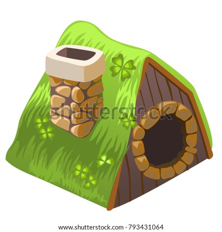 Cute fairy house dugout with chimney isolated on white background. Vector cartoon close-up illustrat Stock photo © Lady-Luck