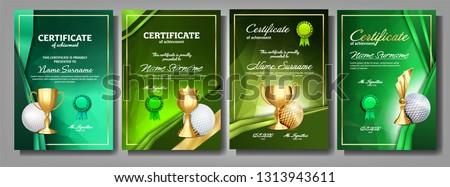 Golf juego certificado diploma dorado taza Foto stock © pikepicture