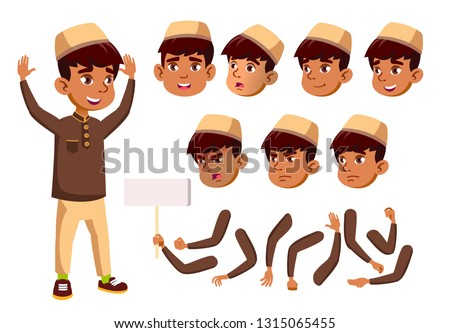 Arab, Muslim Boy, Child, Kid, Teen Vector. Teenager, Education. Face Emotions, Various Gestures. Ani Stock photo © pikepicture