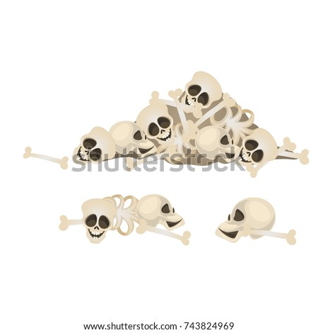 Set of human skulls and bones lying in a heap isolated on white background. Terrible attributes of t Stock photo © Lady-Luck
