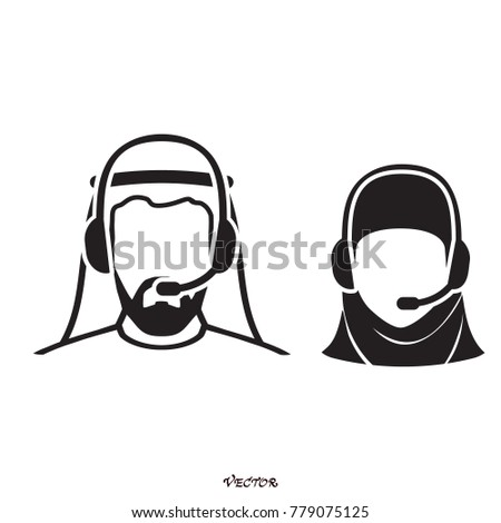 Stock photo: Arab call center operator with headset icon web design communica