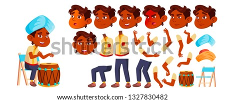 Indian Boy Kindergarten Kid Vector. Animation Creation Set. Face Emotions, Gestures. Happy. Turban,  Stock photo © pikepicture
