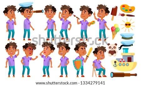 arab muslim boy kindergarten kid poses set vector friendly little children cute comic for web stock photo © pikepicture