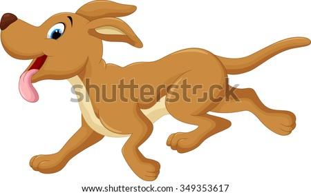 Cute happy cartoon brown pet dog running excited vector illustra Stock photo © Thodoris_Tibilis