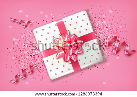 Pink Gift box Vector realistic. Confeti and garland sparkle. Product placement mock up. Design packa Stock photo © frimufilms