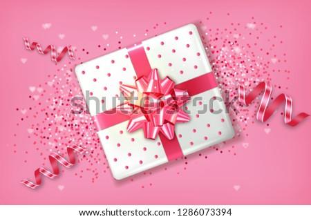 rosa · caixa · de · presente · vetor · realista · grinalda - foto stock © frimufilms