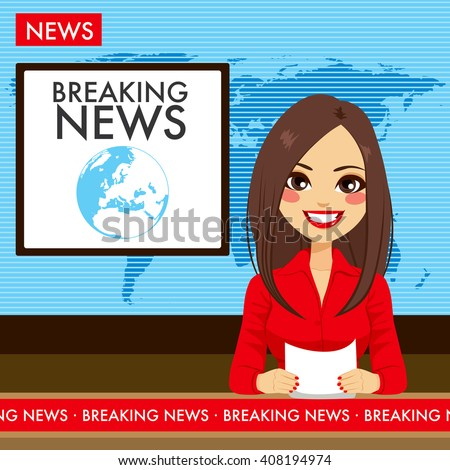 Anchorwoman on tv broadcast news. Breaking News vector illustration. Media on television concept. Fl Stock photo © makyzz
