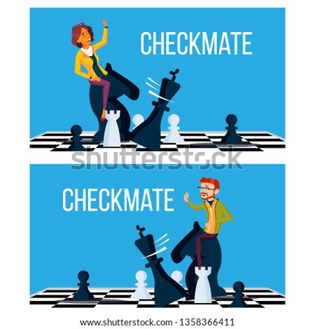 Checkmate Concept Vector. Business Man And Woman Make Checkmate On Board. Victory Challenge. Illustr Stock photo © pikepicture