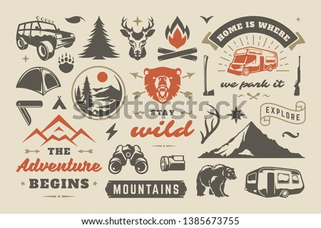 Hand drawn adventure logo with mug, camp tent, pine trees forest and quote - Go outside the worst ca ストックフォト © JeksonGraphics