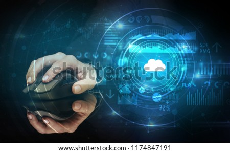 Hand using mouse with cloud technology and online storage concep Stock photo © ra2studio