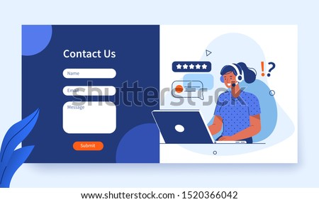 business customer care service concept contact us support help phone call and website click age stock photo © makyzz