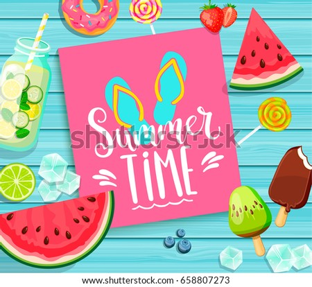 vector summertime holiday illustration with ice cream flip flop and tropical palm trees on ocean bl stock photo © articular