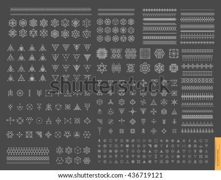 Esoteric, Alchemy, sacred geometry, tribal and Aztec, sacred geometry, mystic shapes, symbol and ico Stock photo © marish