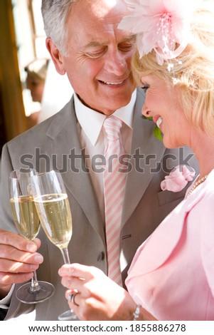 Souriant supérieurs homme flûte champagne caméra Photo stock © pressmaster