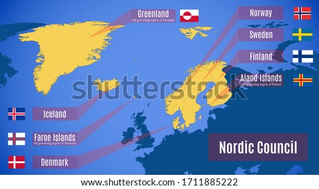 Nordic Council, Iceland, Norway, Denmark, Finland and Sweden Vector Maps Stock photo © ConceptCafe