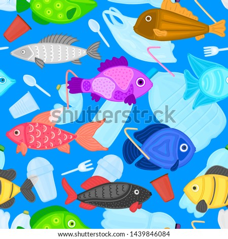 Vector seamless pattern with fish swims among the garbage. Stop plastic ocean pollution. Marine life Stock photo © user_10144511