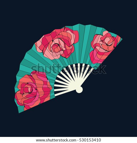 oriental fan decorated with roses flowers vector seamless patter stock photo © margolana