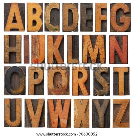 Antique letterpress wood type printing blocks on a white backgou Stock photo © Zerbor