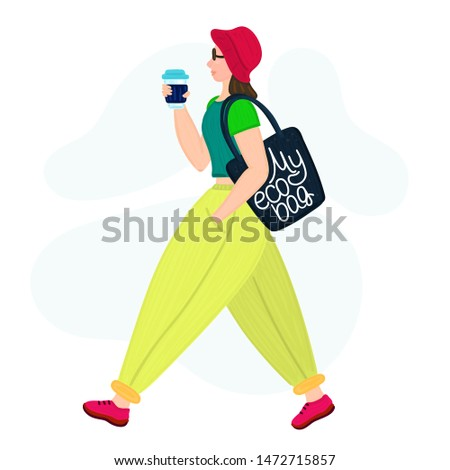 Stylish hipster girl with eco bag and reusable glass cup. Woman sideways. Zero waste lifestyle. Flat Stock photo © user_10144511