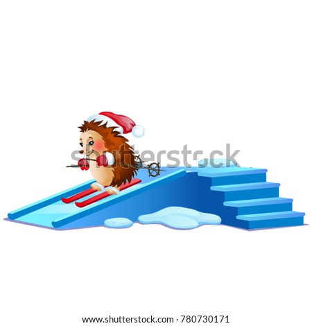 Funny hedgehog skiing on ice slides isolated on white background. Sample of poster, party holiday in Stock photo © Lady-Luck