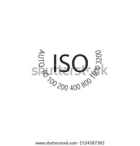 ISO - camera film speed standard wheel, numbers in circle. Stock vector illustration isolated on whi Stock photo © kyryloff