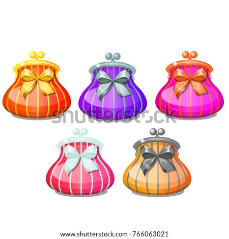 Set of elegant ladies striped cosmetic bag or purse with ribbon bow isolated on white background. Ve Stock photo © Lady-Luck