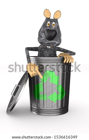rat into garbage basket on white background. Isolated 3D illustr Stock photo © ISerg