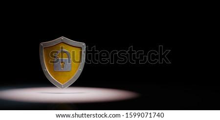 Metálico escudo forma cadeado preto amarelo Foto stock © make