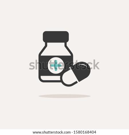 Kapsułki butelki ikona cień beżowy apteki Zdjęcia stock © Imaagio