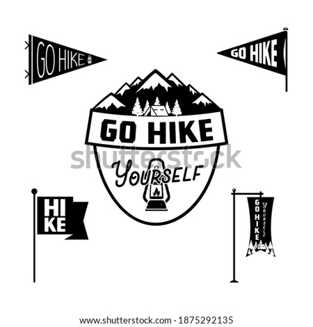 Vintage camp pennant logo, Go hike sticker. Hand drawn badge design. Travel expedition, wanderlust r Stock photo © JeksonGraphics