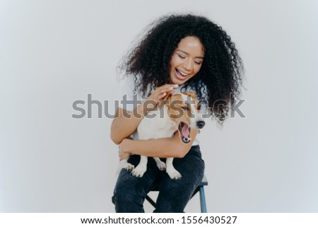 Joyful African American woman plays with pedigree dog, dressed in casual wear, petting favourite pet Stock photo © vkstudio