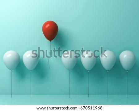 Mavi balon kalabalık beyaz düşünmek Stok fotoğraf © make