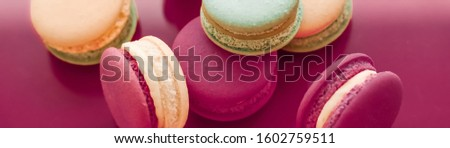 French macaroons on cherry pink background, parisian chic cafe d Stock photo © Anneleven
