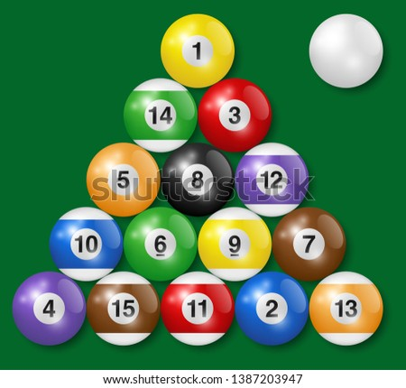 Billiard, pool balls collection. Triangle arrangement. Green background. High quality, photorealisti Stock photo © ukasz_hampel