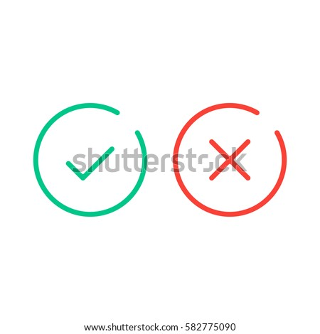 Tick and cross icons. Green checkmark OK and red X icons, Square shape symbols YES and NO button for Stock photo © kyryloff