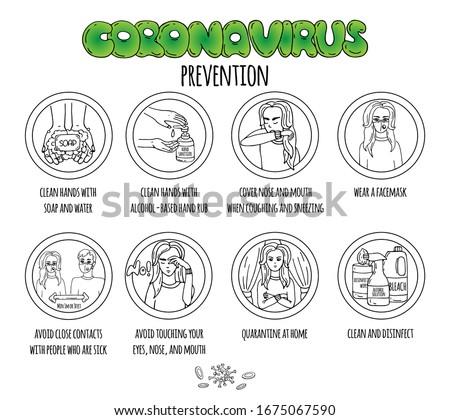 Stock photo: Coronavirus hand drawn vector doodles illustration. Round design.