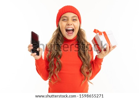 Hand holds the smartphone with birthday gift box on the screen. Flat vector modern phone mock-up ill Stock photo © karetniy