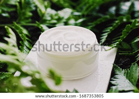 Face cream moisturizer jar in green garden, natural herbal skincare cosmetics and organic anti-aging Stock photo © Anneleven