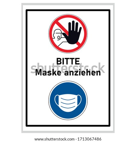 please wear a mask (german text) - Screaming man with black hand stopping sign and blue mask sign Stock photo © djdarkflower