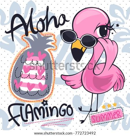 Cute фламинго смешные вектора характер рисунок Сток-фото © Zsuskaa
